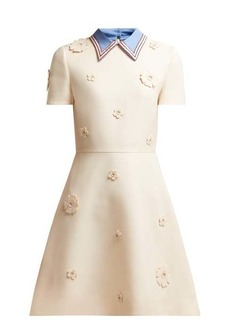 Valentino Floral-appliqué wool and silk-blend crepe dress