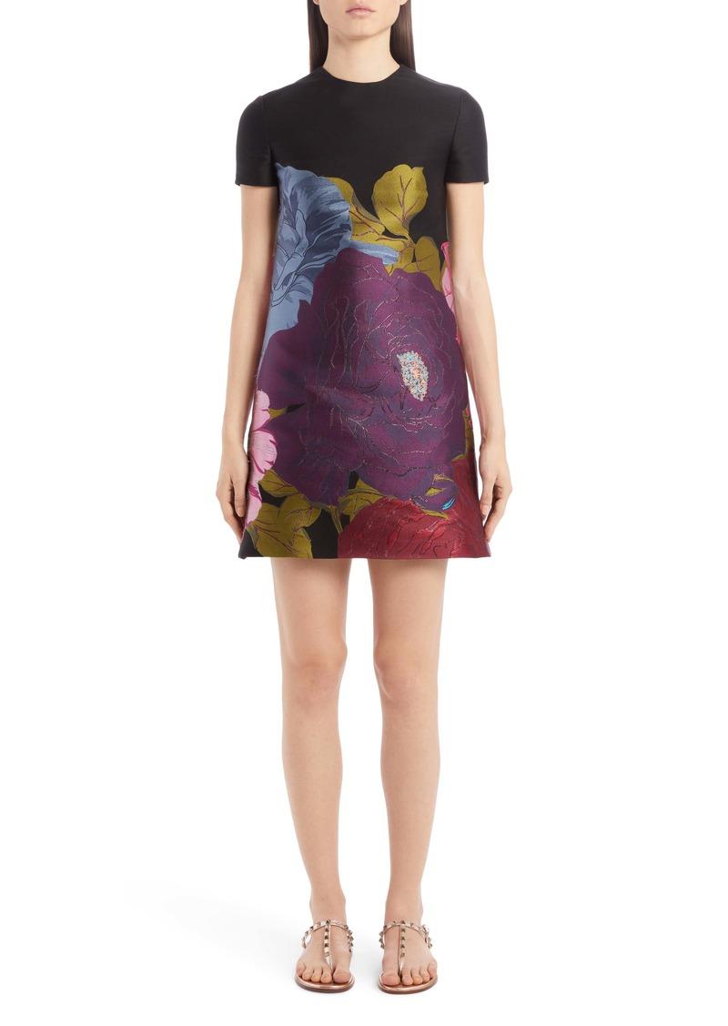 Valentino Floral Brocade Shift Minidress