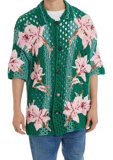 Valentino Floral Crochet Button-Up Short Sleeve Camp Shirt