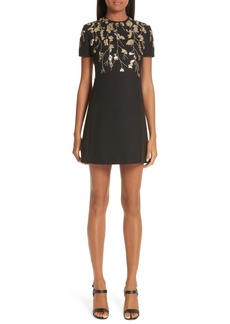 Valentino Floral Embroidered Crepe Couture Dress