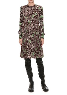 Valentino Floral-Embroidered Crepe Dress