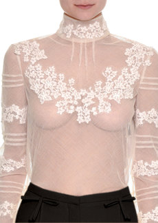 Valentino Floral-Embroidered Sheer Turtleneck Top
