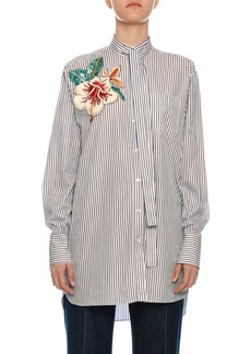 Valentino Floral-Embroidered Tie-Neck Pinstriped Shirt