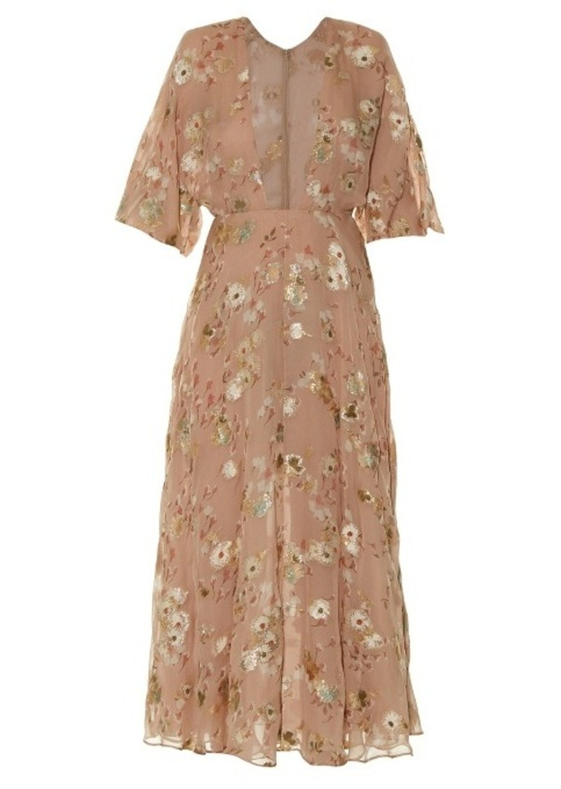 Valentino Floral fil coupé midi dress