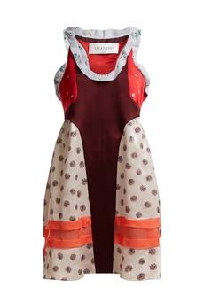 Valentino Floral-jacquard panelled dress