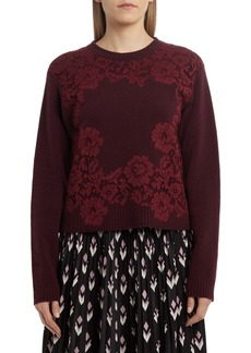 Valentino Floral Lace Wool & Cashmere Sweater