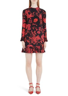 Valentino Floral Long Sleeve Silk Crêpe de Chine Minidress
