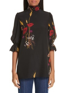 Valentino Floral Meadow Print Silk Crêpe de Chine Blouse