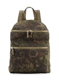 Valentino Garavani Floral-Pattern Canvas Backpack