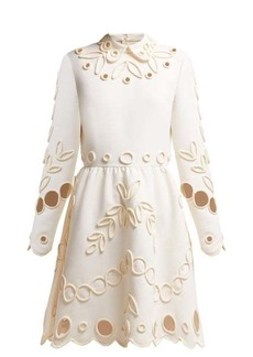 Valentino Floral piping-embellished crepe midi dress