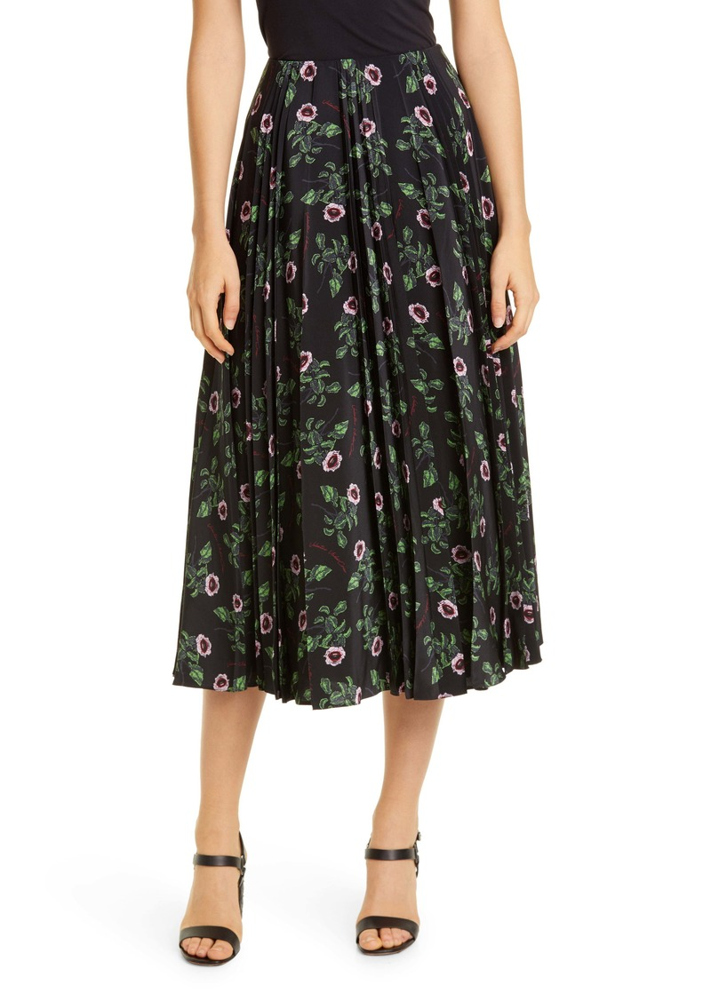 Valentino Floral Pleated Silk Maxi Skirt