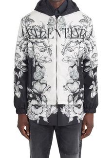 Valentino Floral Print Hooded Jacket