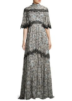 Valentino Floral-Print Lace-Trim Tie-Back Gown