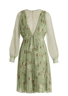 Valentino Floral-print lace-trimmed silk-chiffon dress