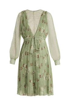 Valentino Floral-print lace-trimmed silk-chiffon dress