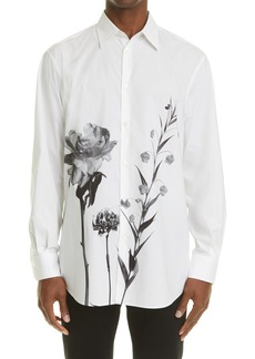 Valentino Floral Print Long Sleeve Button-Up Poplin Shirt