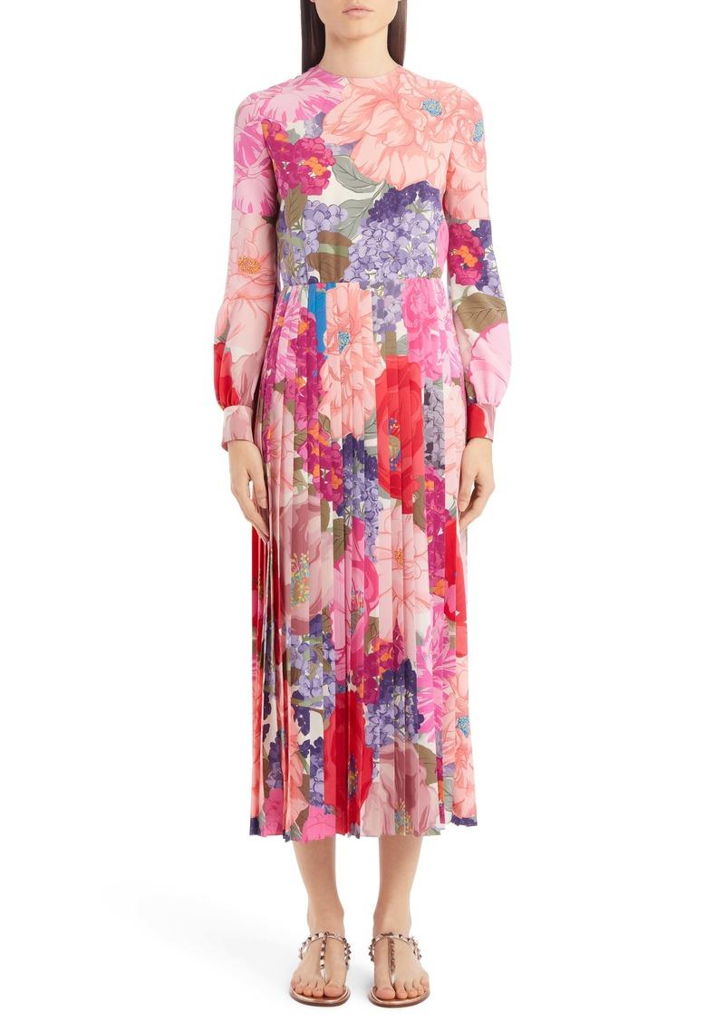 Valentino Floral Print Pleated Long Sleeve Silk Midi Dress