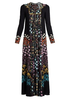 Valentino Floral-print ruffled-neck crepe dress