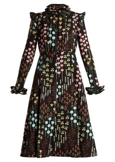 Valentino Floral-print ruffled-neck dress