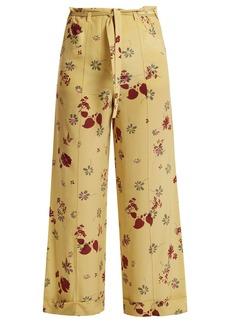 Valentino Floral-print silk crepe de Chine trousers