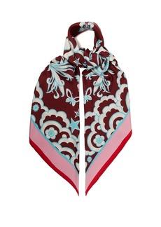 Valentino Floral-print silk-twill scarf