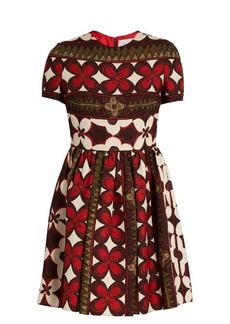 Valentino Floral-print wool and silk-blend dress