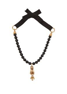 Valentino Floral Rockstud-pendant beaded necklace