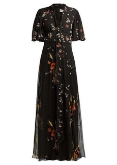 Valentino Floral sequin-embellished silk-chiffon gown