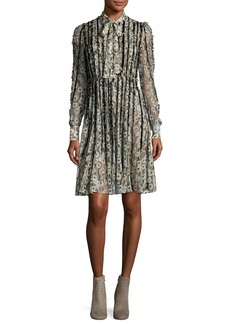 Valentino Floral Waves Fringe-Trim Silk Tie-Neck Shirtdress