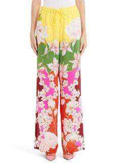 Valentino Floral Wide Leg Silk Crepe Pants