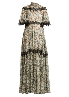 Valentino Flower and wave-print silk dress