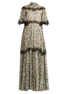 Valentino Flower and wave-print silk dress