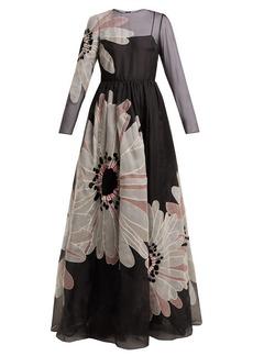 Valentino Flower-appliqué organza gown
