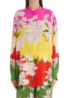 Valentino Flower Collage Button-Up Silk Blouse