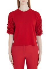 Valentino Flower Embellished Wool & Cashmere Sweater