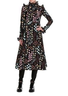 Valentino Flower Stem Pleated Midi Dress