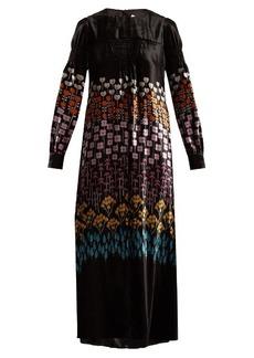 Valentino Flower Stem-print velvet gown