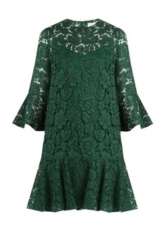 Valentino Fluted sleeve and hem cotton-blend lace dress