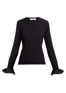 Valentino Fluted-sleeve round-neck sweater
