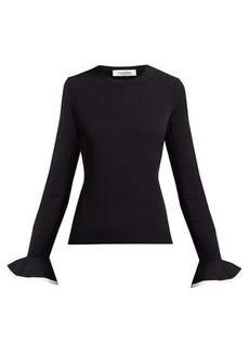 Valentino Fluted-sleeve round-neck sweater