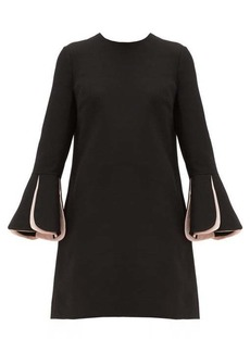 Valentino Fluted-sleeve wool-blend crepe mini dress
