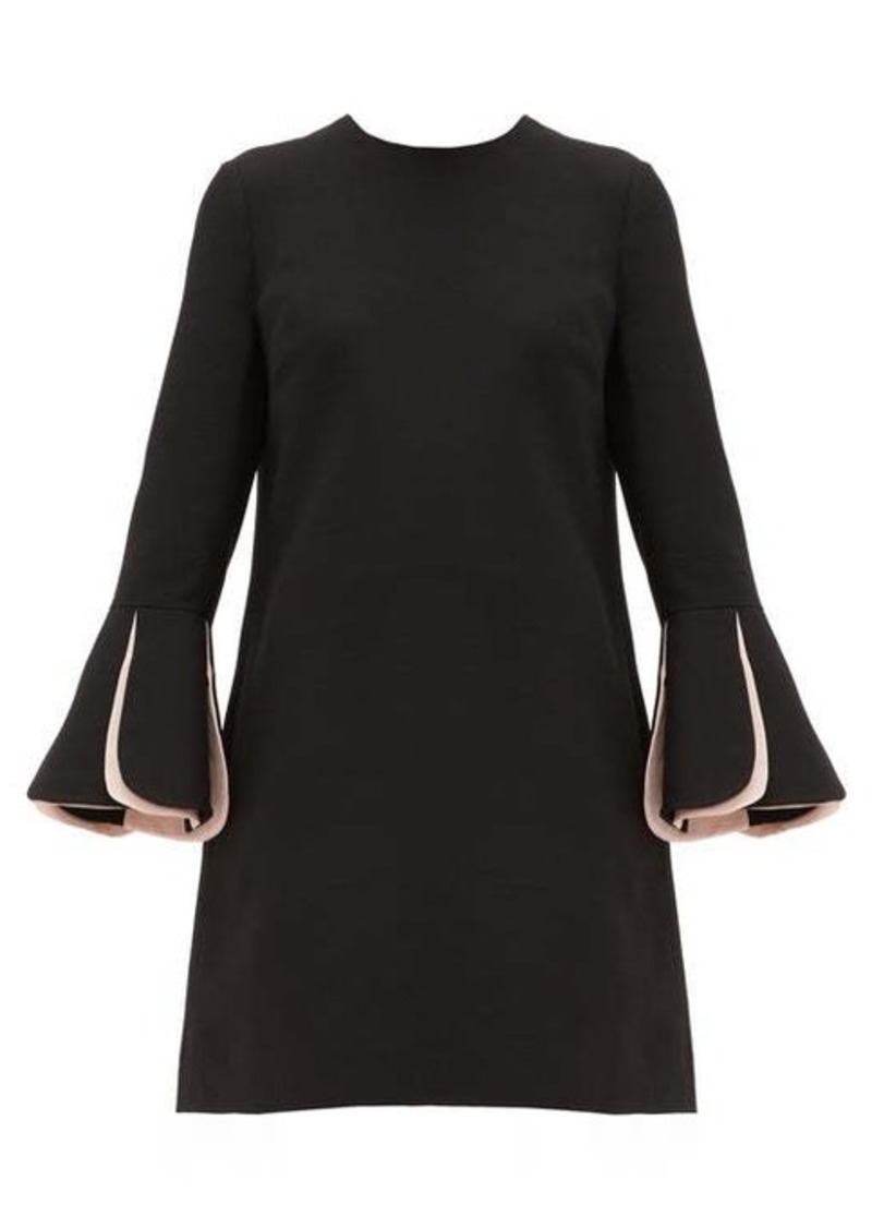 Valentino Fluted-sleeve wool-blend crepe mini dress