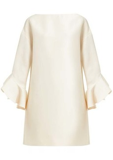 Valentino Fluted wool-blend crepe mini dress