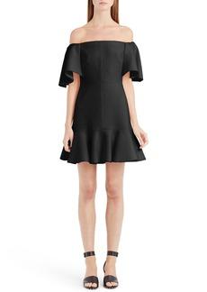 Valentino Flutter Hem Off the Shoulder Dress