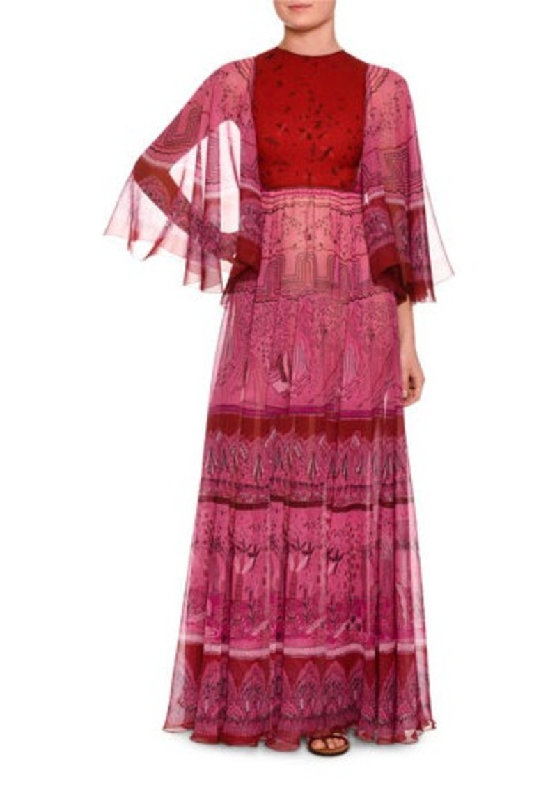 On Sale today! Valentino Valentino Flutter-Sleeve Printed Silk Gown