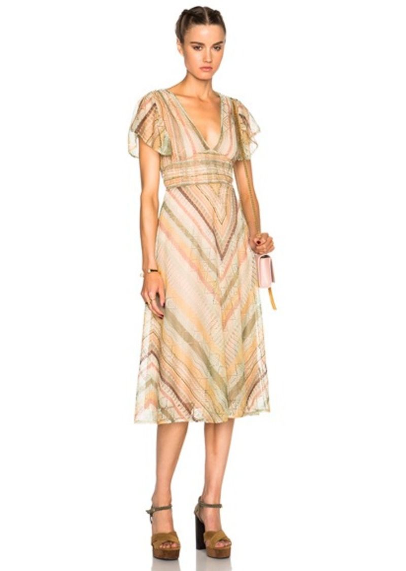 Valentino Flutter Sleeve V Neck Dress with Back Waist Tie