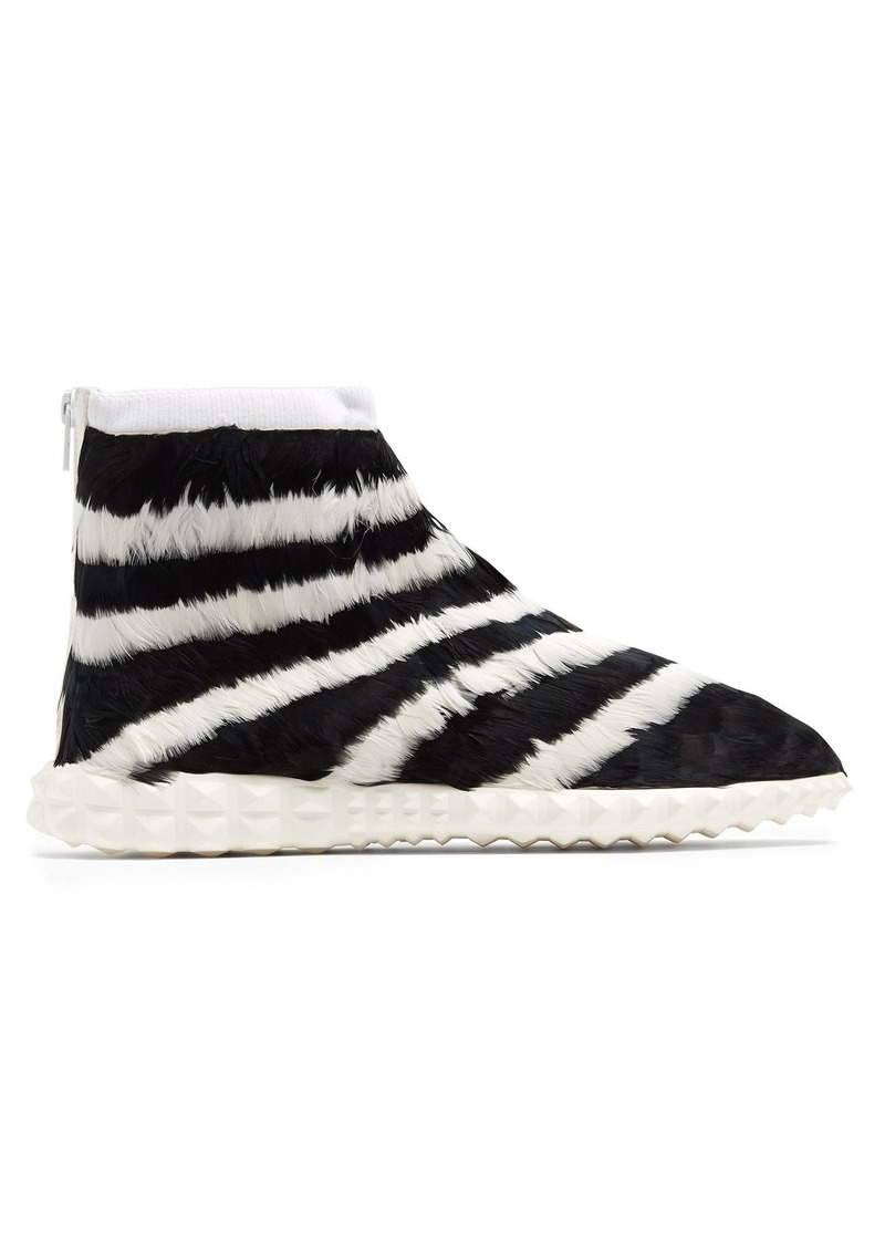 bd36549df793 Valentino Valentino Free Striped feather-embellished high-top ...