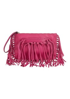 VALENTINO GARAVANI Fringe Leather Clutch