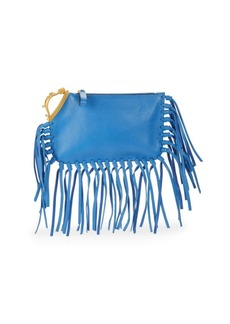 VALENTINO GARAVANI Fringed Pebbled Leather Clutch