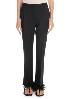 Valentino Front-Zip Crepe Couture Pleated Pants
